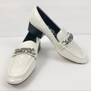 Dolce Vita Kasi cream loafer chain patent leather